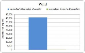 Figure 4.3. Wild-sourced direct exports of live Iguana iguana from the Region reported by exporters (the Region) and by importers, 2003-2012.