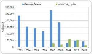 Figura 3.14. Exportaciones directas de Zamia furfuracea y Z. integrifolia vivas desde la Región, declaradas por los exportadores, todas las fuentes, 2003-2011 (no se declaró comercio en 2012).