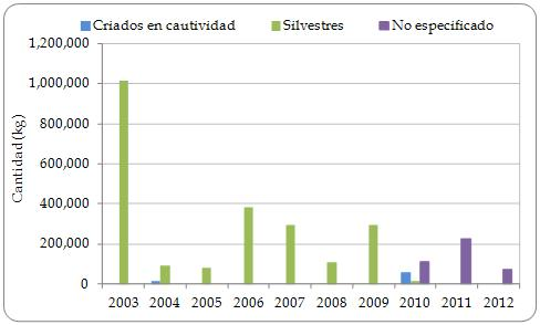Figura 3.6. Exportaciones directas desde la región de carne de Strombus gigas (kg) declaradas por los exportadores por categoría de fuente 2003-2012.