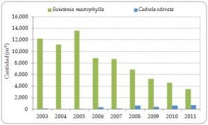 Figura 3.8. Exportaciones directas de madera de Swietenia macrophylla y Cedrela odorata registradas por los exportadores (m3; incluyendo chapa y madera contrachapada) desde la región, de todas las fuentes,  2003-2011 (no se declaró comercio en 2012).