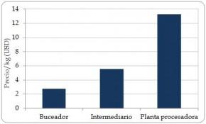 Figura 6.7. Precio promedio (USD) por kg de carne de Strombus gigas alcanzado en las tres etapas principales en la cadena de explotación en Nicaragua. (Fuente: Barzev, 2009.)