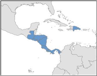 Figura 1. Mapa mostrando los siete países que se  incluyen en este informe.